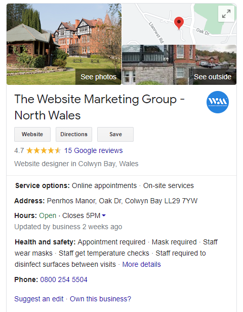 A screenshot of The Website Marketing Group's Google My Business Profile, a Website Design & SEO company in North Wales.